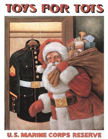 Toys for Tots poster with Santa holding a bag of toys with a U.S. Marine Corps uniform hanging in a closet